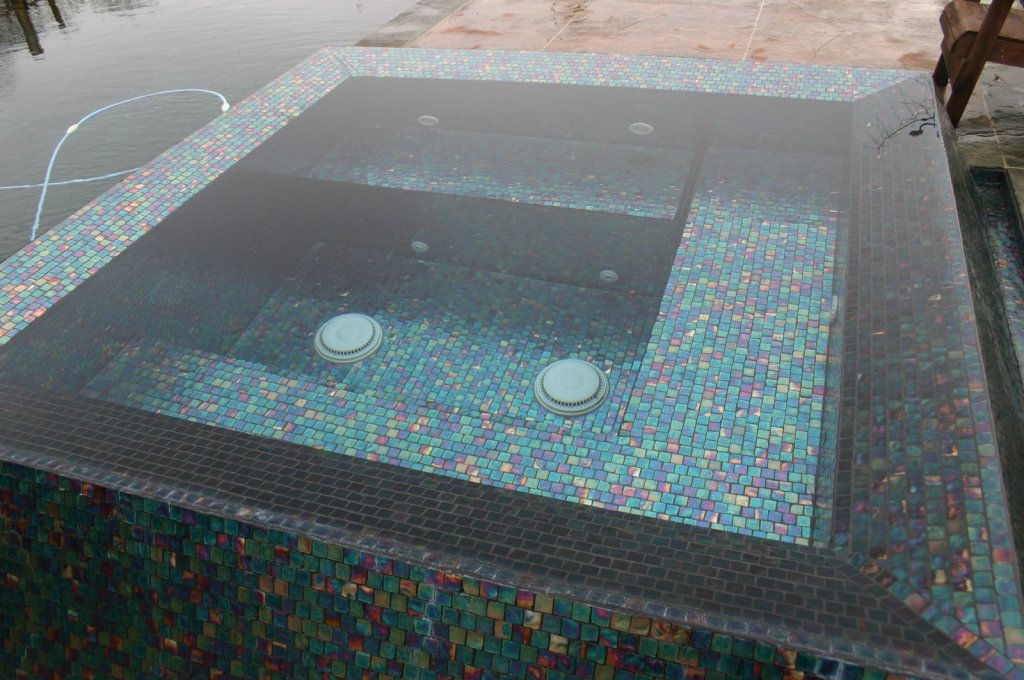all glass tile spa